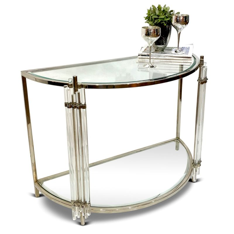 Art Deco Crescent Console Table Culinary Concepts - Display Sofa Table
