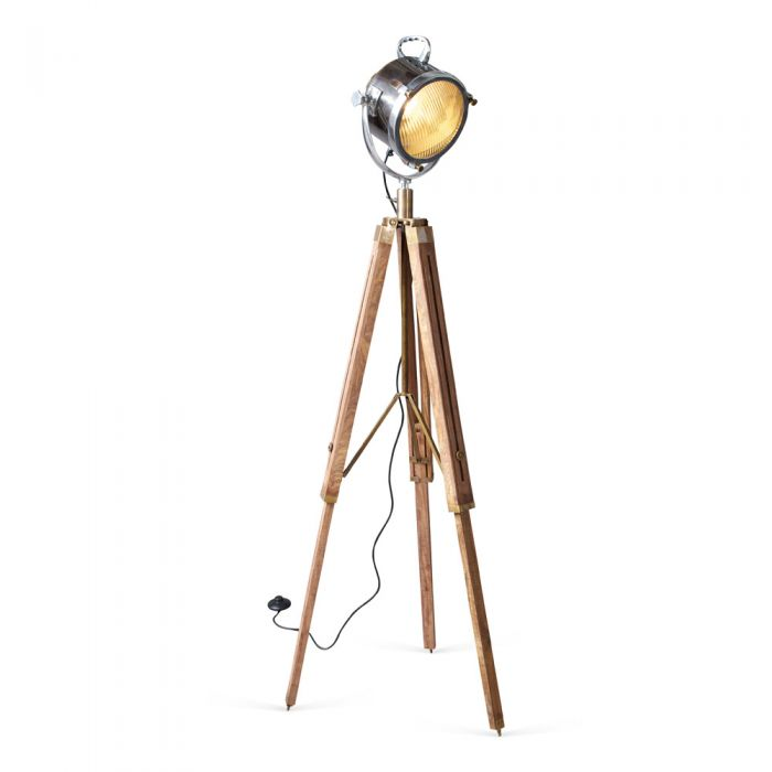 Spotlight floor lamp with wood tripod culinary concepts