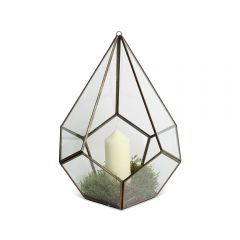 Pentagon Brass Glasshouse Candle Holder - Small