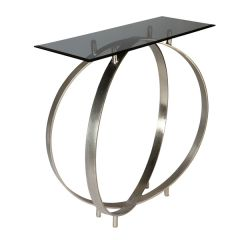 Twin Ring Design Glass Top Console Table - Shiny Silver