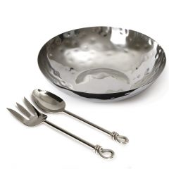 "12"" Round Bowl with Medium Polished Knot Salad Servers - Pre-order - Due Early October"