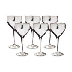 Set of Six Hammered Wine Goblets - SAVE OVER £24