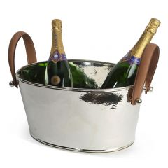 Champagne Hammered Leather Handled Half Sized Champagne Bath