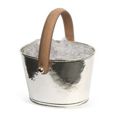 Leather Handled Ice Bucket - Champagne Hammering