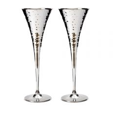 Pair of Hammered Champagne Chalices