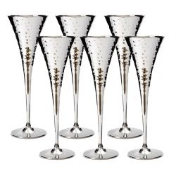 Set of Six Hammered Champagne Chalices