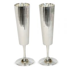 Pair of Tall Fluted Champagne Goblets