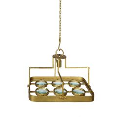 Galaxy Large Square Magnifying Chandelier - Antique Brass
