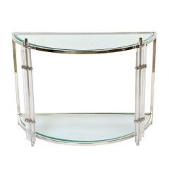 Art Deco Crescent Console Table with Acrylic Legs