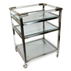 NEW! Art Deco Drinks Trolley - Nickel Finish - Pre-order - Due Early March
