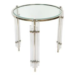 Art Deco Side Table with Acrylic Legs