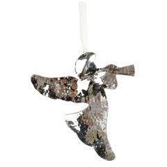 Medium Silver Hammered Angel Decoration