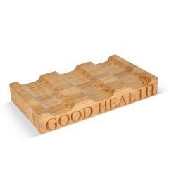 'Good Health' Beech Wood 3 Bottle Wine Rack