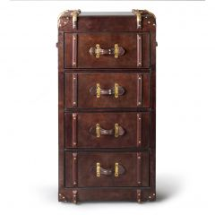 Havana Leather 4 Drawer Chest Of Drawers - Cigar - Pre-Order - Due Late January