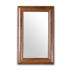 Havana Leather Mirror Frame - Cigar