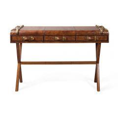 Havana Leather Console Table - Cigar - Ex-Display