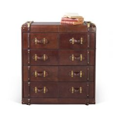 Havana Leather Chest of Five Drawers - Cigar
