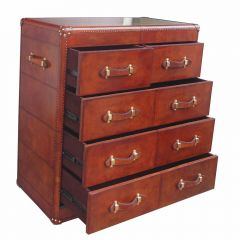 Panama Cognac Leather Large Chest Of 5 Drawers - With Brass - Pre-order - Due Mid May