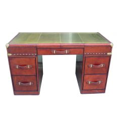 Panama Cognac Leather Desk with Brass Top