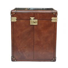 Panama Cognac Leather Small Side Trunk - With Brass - Pre-order - Due Mid May