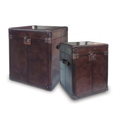 Panama Cigar Leather Large Side Trunk - With Copper - Ex Display Piece