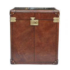 Panama Cognac Leather Large Side Trunk - With Brass
