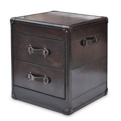 Panama Cigar Leather 2 Drawer Side Table - With Copper - Production Second