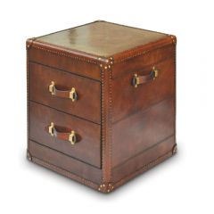 Panama Cognac Leather 2 Drawer Side Table - with Brass