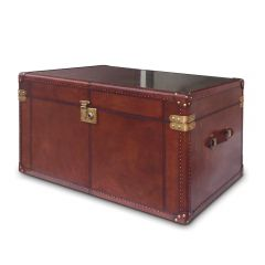 Panama Cognac Leather Travelling Trunk - With Brass