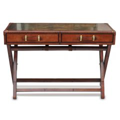 Panama Cognac Leather Console Table - with Brass