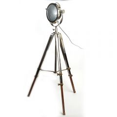 Rolls Headlamp Floor Lamp With Polished Nickel & Wood Tripod