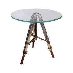 Large Radius Glass Side Table with Tripod Legs