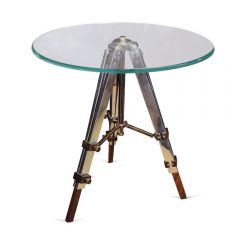 Radius Glass Side Table with Tripod Legs