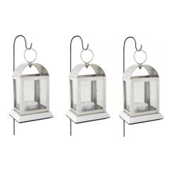 Three Mini Arch Tea Light Lanterns & Stakes