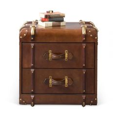 Havana Leather Two Drawer Side Trunk - Cigar