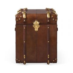 Large Havana Leather Side Trunk - Cigar