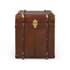 Small Havana Leather Side Trunk - Cigar