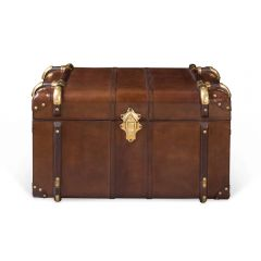 Small Havana Leather Travelling Trunk - Cigar