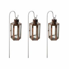 Set of Three Mini Quarry Lantern & Stakes - Burnished Copper
