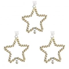 Set of Three Pearl Star Decorations