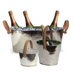 Champagne Hammered Large Champagne Bath, Wine Cooler & Ice Bucket Set