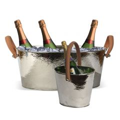 Champagne Hammered Large Champagne Bath & Wine Cooler Set