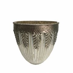 NEW! Medium Grecian Candle Holder - Antique White Silver