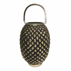 Small Pineapple Candle Lantern - Antique Black Gold