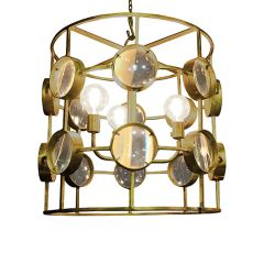 Galaxy Wide Cylinder Magnifying Chandelier - Shiny Brass