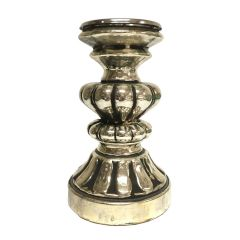 NEW! Small Ornate Candle Pillar Holder - Antique Black Gold