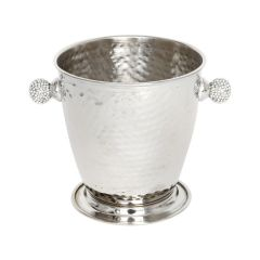 Hammered Ice Bucket with Crystal Sphere Handles