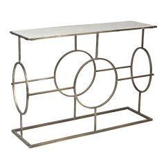 Circle Design Marble Top Console Table - Silver