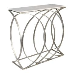 Concentric Circle Console Table – Shiny Silver