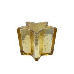 Large Antique Gold Star Tea Light Holder